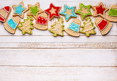Christmas cookies. On wooden background stock photography