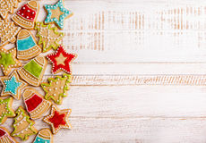 Christmas cookies. On wooden background royalty free stock photo