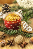 Christmas cookies. On wooden background Royalty Free Stock Photos