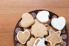 Christmas cookies on a wooden background Royalty Free Stock Photography
