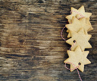 Christmas cookies on wooden background Royalty Free Stock Image