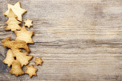Christmas cookies on wooden background. Royalty Free Stock Image