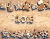 Christmas cookies on wooden background. 2018. Stock Image