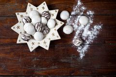 Christmas cookies on wooden background Stock Photography