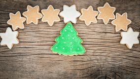 Christmas cookies on wooden background Royalty Free Stock Photo