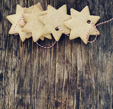 Christmas cookies on wooden backgrround Royalty Free Stock Photography