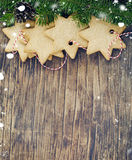 Christmas cookies on wooden backgrround Stock Photography