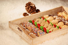 Christmas cookies on wooden plate Royalty Free Stock Image