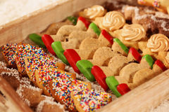 Christmas cookies on wooden plate Stock Image