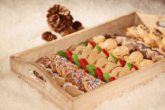 Christmas cookies on wooden plate Stock Images