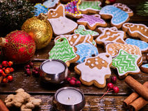 Christmas cookies on wooden table. Stock Images