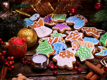 Christmas cookies on a wooden table. Royalty Free Stock Images