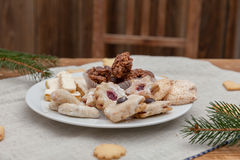 Christmas cookies on a wooden table Stock Photography