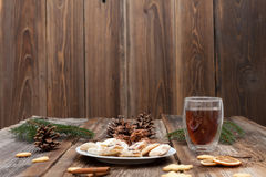 Christmas cookies on a wooden table Royalty Free Stock Image