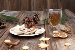 Christmas cookies on a wooden table Stock Images