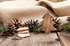 Christmas cookies on a wooden table Stock Photo