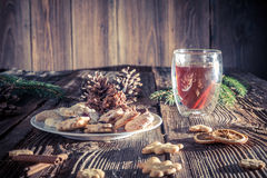 Christmas cookies on a wooden table Royalty Free Stock Photography