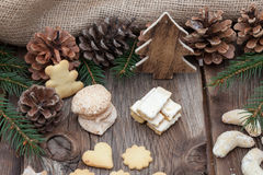 Christmas cookies on a wooden table Royalty Free Stock Photo