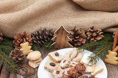 Christmas cookies on a wooden table Stock Image
