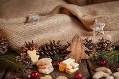 Christmas cookies on a wooden table Royalty Free Stock Photos