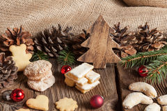 Christmas cookies on a wooden table Royalty Free Stock Images
