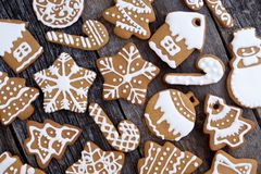 Christmas cookies on a wooden table. Top view Royalty Free Stock Image