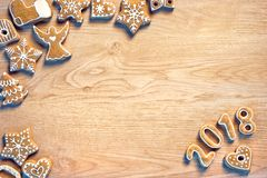 Christmas cookies on wooden table. Top view. Traditional Christmas cookies on wooden table. Top view. High resolution product. Christmas baking concept Stock Photos