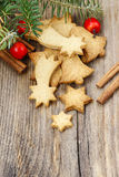 Christmas cookies on wooden table Royalty Free Stock Photos