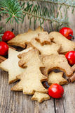 Christmas cookies on wooden table Stock Photos