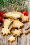 Christmas cookies on wooden table Royalty Free Stock Photo