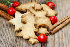 Christmas cookies on wooden table Stock Images