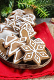 Christmas cookies on wooden tray Royalty Free Stock Photos