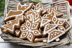 Christmas cookies on wooden tray Royalty Free Stock Photography