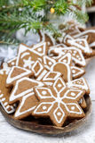 Christmas cookies on wooden tray Royalty Free Stock Image