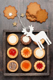 Christmas cookies in a wooden vintage box Stock Images