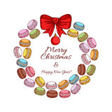 Christmas cookies wreath with macaroons and bow. Stock Photos