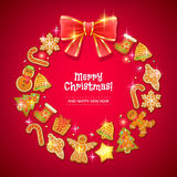 Christmas cookies wreath with red bow. Royalty Free Stock Photography