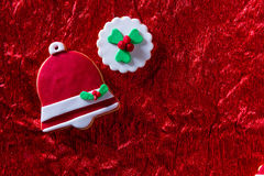 Christmas cookies Xmas bell on red background Royalty Free Stock Image