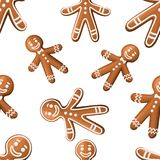 Christmas Cookies. Xmas gingerbread man cookie. Isolated On White Background, Vector Illustration. Seamless. Website page and mobile app design vector illustration