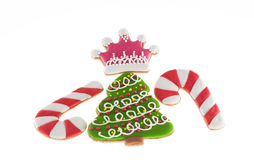 Christmas cookies xmas tree, two canes and pink crown Stock Image