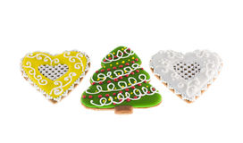 Christmas cookies xmas tree and two hearts Royalty Free Stock Photo