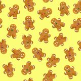 Christmas cookies on yellow background. Seamless pattern stock illustration