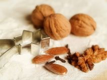 Christmas cooking. Three nuts and three almonds Royalty Free Stock Photography