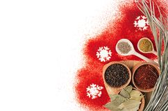 Christmas cooking - different spices in wooden bowls, snowflakes and dry twig as decorative border, isolated, top view. Royalty Free Stock Photos