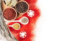 Christmas cooking - different spices in wooden bowls, snowflakes and dry twig as decorative border, , top view. Royalty Free Stock Photography