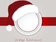 Christmas copy space border and Santa hat. Landscape Christmas Background with Border Copy Space Santa Hat and Decorative Text Royalty Free Stock Photo