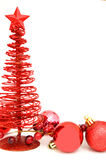 Christmas corner border. Red Christmas border with tree and bauble ornaments Stock Photos