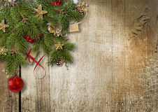 Christmas corner border decor on wood Royalty Free Stock Image