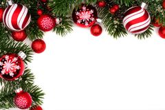 Red and white Christmas bauble corner border on white Stock Photography