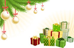 Christmas corner elements. Christmas red, green and gold corner background elements. Christmas tree, balls and gifts. Corners can be moved for more space in Royalty Free Illustration